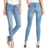 OEMの方法女性高いウエストの細いデニムのジーンズ