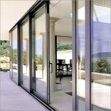 Nouvelle conception de l'aluminium porte en verre coulissantes horizontales à bas prix