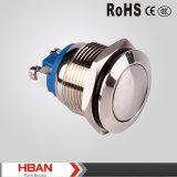 Interruptor de botão de aço inoxidável de 16 mm com terminal de parafuso