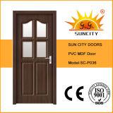 Porte intérieure en PVC avec design en verre (SC-P036)