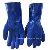Голубой латекс многократного использования для тяжелого режима работы для мытья посуды Waterstop перчатки