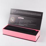 Rectángulo de empaquetado de papel cosmético estampado hoja de oro del negro de la caja de embalaje de la pestaña de la insignia
