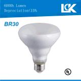 6W 650lm Br30 E26 nova espiral da intensidade de luz LED Lâmpada Reflectora de filamento