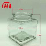 Hexagonal de la plaza de la miel mermelada de tarro de vidrio botella con tapa de metal