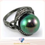 De Elegante Parel van de Juwelen van de manier met Rhodium & Zwarte Geplateerde juwelen 925 van de Ring van CZ van de AMERIKAANSE CLUB VAN AUTOMOBILISTEN Echte Zilveren Juwelen (R10178)