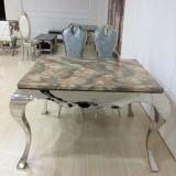 大理石のステンレス鋼の正方形のダイニングテーブル