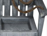 Piantatrice d'attaccatura di legno della presidenza della lavata grigia con due POT