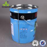 10 litri del metallo dello stagno di secchio d'acciaio della vernice con l'anello di serratura del coperchio
