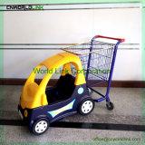 As crianças de supermercados com plástico de carrinho de compras do banco do bebé