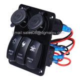 Eje de balancín del panel LED del interruptor del coche de 3 cuadrillas con el enchufe de Cigaretter del socket del USB 2 para el infante de marina/Boat/RV 12V impermeable