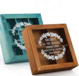 Роскошная деревянная коробка хранения ювелирных изделий бумаги зерна