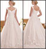 O tampão Sleeves o vestido de casamento D1919 de Tulle do laço dos vestidos nupciais