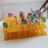 Crémaillère d'étalage acrylique jaune de détail de lucette