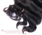 Venda de fábrica Virgem Lace Encerramento Onda profunda solta o cabelo humano indiano pêlo preto natural da trama
