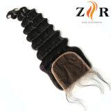 Fechamento brasileiro do laço do cabelo do Virgin profundo do ser humano da onda 100%