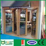 Puerta de plegamiento de aluminio con color de madera