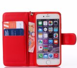 iPhone 8のための熱い浮彫りにされた赤いPUの革携帯電話の箱