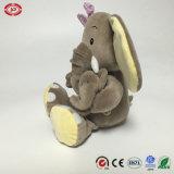 [جومبو] فيل يجلس حيوانيّ لعبة قطيفة ليّنة مع طفلة هبة