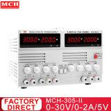 Affichage à quatre chiffres 30V 2A 60W Dual Channel DC Alimentation linéaire avec 5V2une sortie fixe mch-302D-II