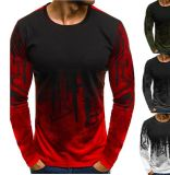 Au printemps et automne hommes nouveaux sports à manches longues de camouflage de remise en forme mince T-shirt col rond