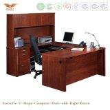 Het houten Gebogen Bureau van de Vorm van U van het Bureau van de Luxe Multifunctionele Uitvoerende Computer met de ZijBoekenkast van de Lijst (hy-U01)