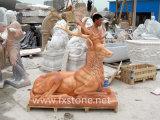 Geschnitzte Marmorrotwild-Skulptur für Garten-Dekoration
