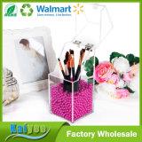 En acrylique transparent avec de l'Organiseur de maquillage rose brillant Pearl - Petit
