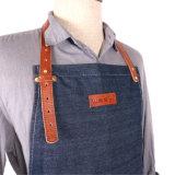 Delantal utilitario de Barista del dril de algodón del estilo Well-Crafted de la vendimia de China con los surtidores Pocket de cuero