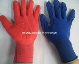 Gant de travail tricoté par nylon coloré avec le plongement de nitriles de mousse (N1606)