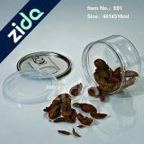 Tarro de masón plástico redondo del envase de alimento de animal doméstico con la tapa de aluminio
