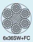 Corda de fio de aço 6X36sw+FC de Ungalvanized