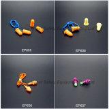 Mousse de PU de la protection de l'oreille avec cordon en PVC (PE605)