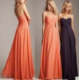 Strapless Bridesmaid Vestidos Coral Purple Chiffon vestido formal E13427
