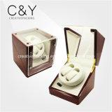 2+0の節玉の木製のベニヤの光沢度の高いベニヤの二重自動腕時計の巻取り機