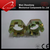 Haute qualité DIN937 plaqué zinc jaune l'écrou crénelé hexagonal