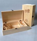 流行の2本のびんのマツ木のワインボックス