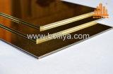Revestimento escovado da fachada de Acm da linha fina do espelho do ouro escova dourada de prata