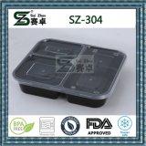 2 contenitori di alimento di plastica dello scompartimento, microonda, a perfetta tenuta, preparazione del pasto, casella di pranzo