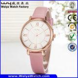Lederne Uhr-Legierungs-Uhr-klassische Geschäfts-Quarz-Uhr (Wy-107C)