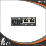 1X 100Base-FX para 2X 10/100Base UTP Conversor de mídia 1550nm 60km
