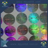 Étiquette faite sur commande d'hologramme de couleur d'or avec des numéros de série