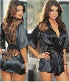 lingerie 1PCS sexy chaude plus les sous-vêtements érotiques sexy de nuit de robe longue de vêtements de nuit d'Intimate de kimono de noir de lacet de satin de taille de femmes sexy de robe