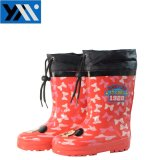 Красный стильный двухстворчатый текстильной печати втулку детей из натурального каучука высокого качества Rainboots Wellingtons новый дизайн Wellies обувь для детей обувь