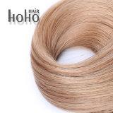 Оптовые цены на 100% прав волосы вьются русые 24-дюймовый удлинитель волос ленточных накопителей