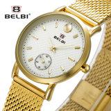 Belbiのファッションビジネスの防水水晶電池の女性の鋼鉄腕時計