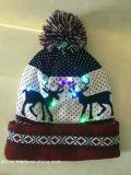 カスタムLEDのジャカードロゴのクリスマスによって編まれる帽子の帽子