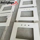Bancadas brilhantes brancas puras de quartzo do banheiro de pedra artificial natural