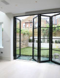 El doble de cristal templado puertas plegables interior