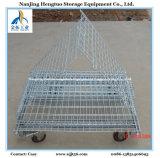 Складная стальная клетка ячеистой сети с колесами для хранения пакгауза