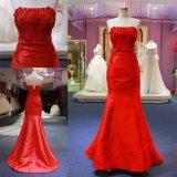 Vestido de noite vermelho de perolização gama alta feito-à-medida da sereia do tafetá por muito tempo